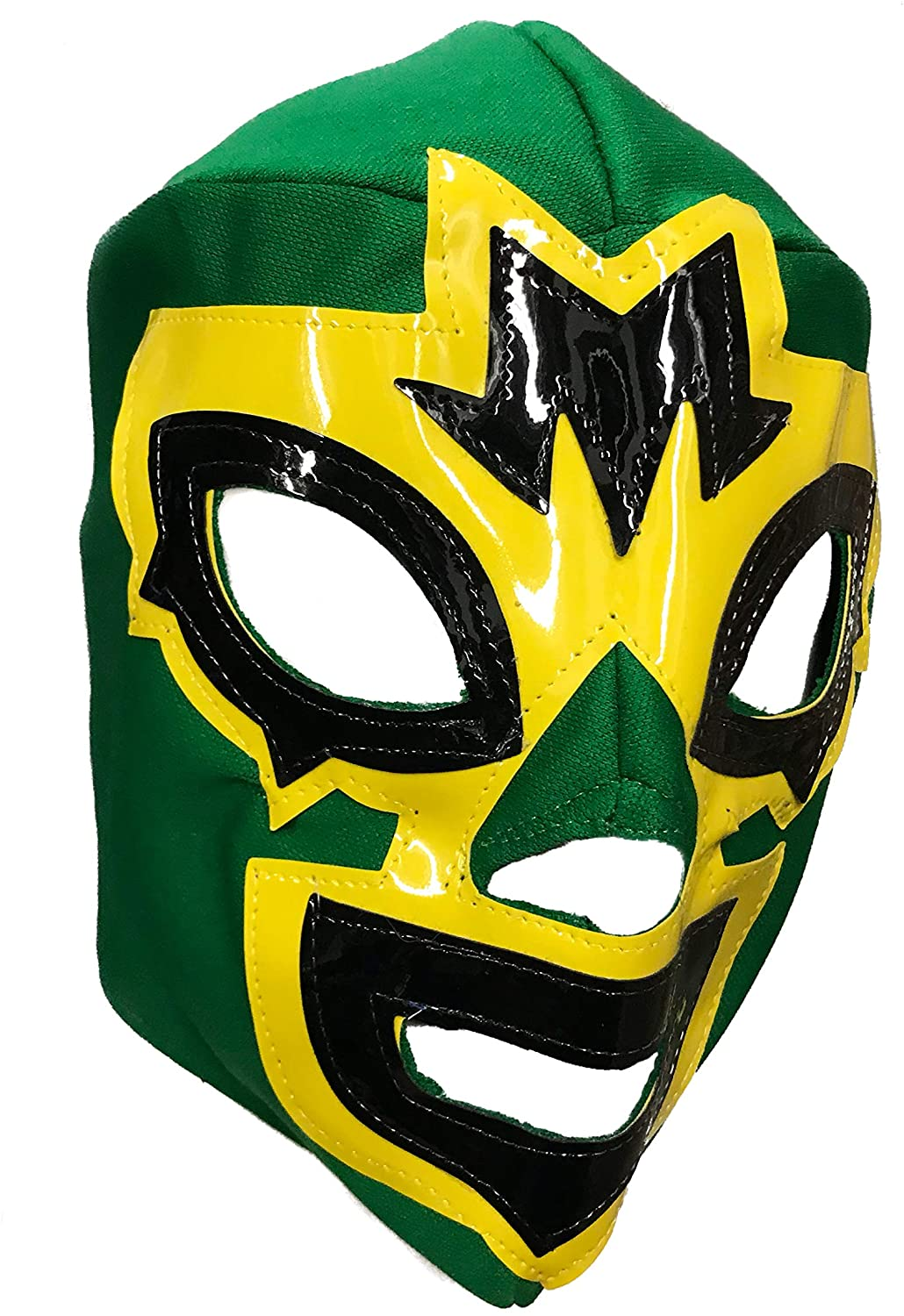 Mask Maniac Adult Lucha Libre Lace up Wrestling Mask - Green/Yellow, Large
