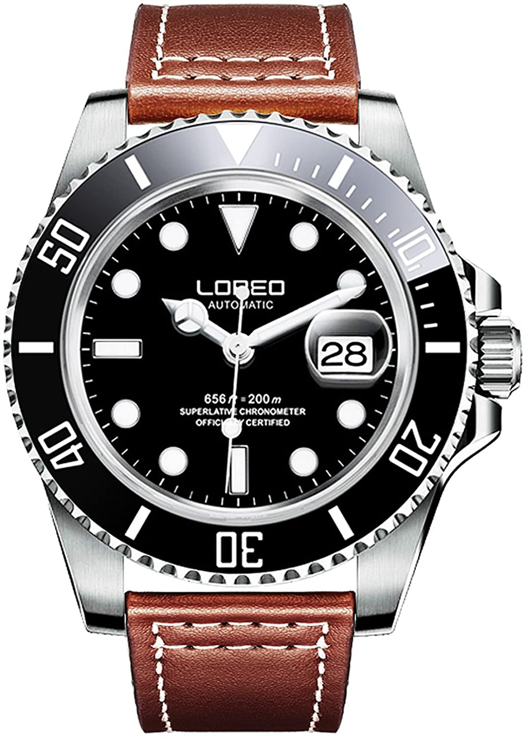 LOREO Mens GMT Rotating Bezel Silver Stainless Steel Case Sapphire Mens Automatic Leather Watch