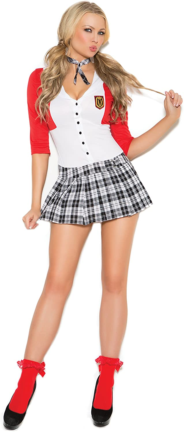 Zabeanco Sexy Schoolgirl Role Play Halloween Costume Dean's List Diva Mini Dress with Attached Jacket and Neck Piece