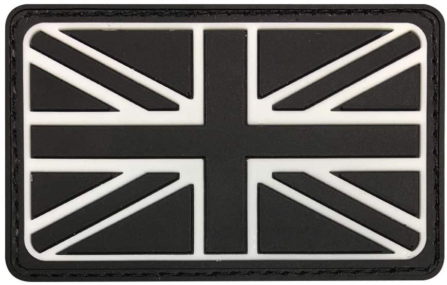 Morton Home British Union Jack Rubber Badges Patch England Flag UK Great Britain Iron-On Emblem (Black/White)