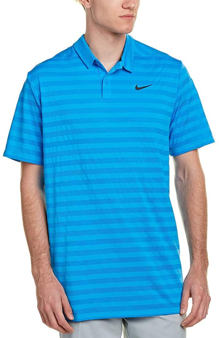 Nike Dri Fit Stripe Golf Polo 2018 Photo Blue/Black Large