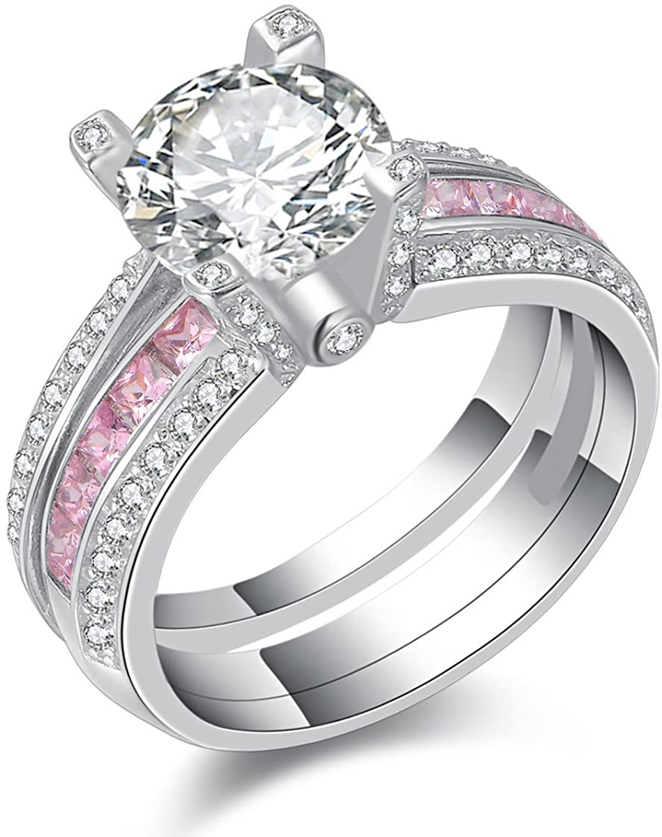 Newshe Jewellery Round Pink Cz 925 Sterling Silver Wedding Band Engagement Ring Sets Size 5-12