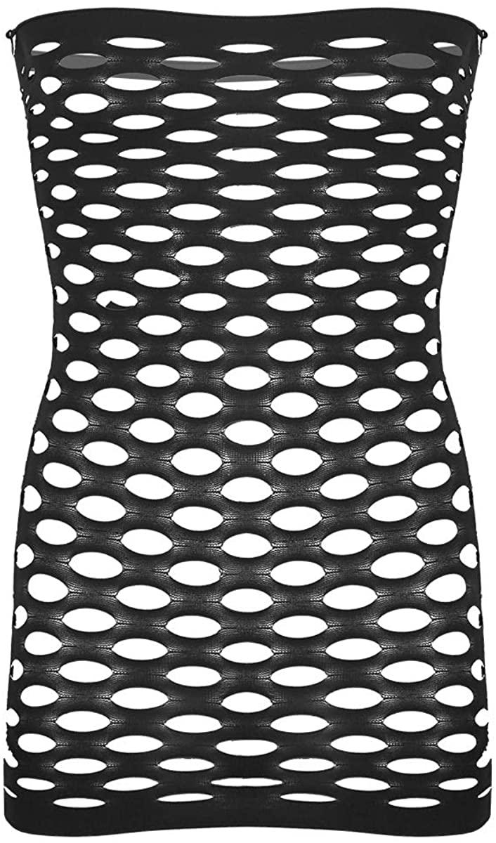 Hularka Mens Sissy Lingerie Pantyhose Stocking Fishnet Strapless Tube Top Babydoll Bodysuit Mini Dress
