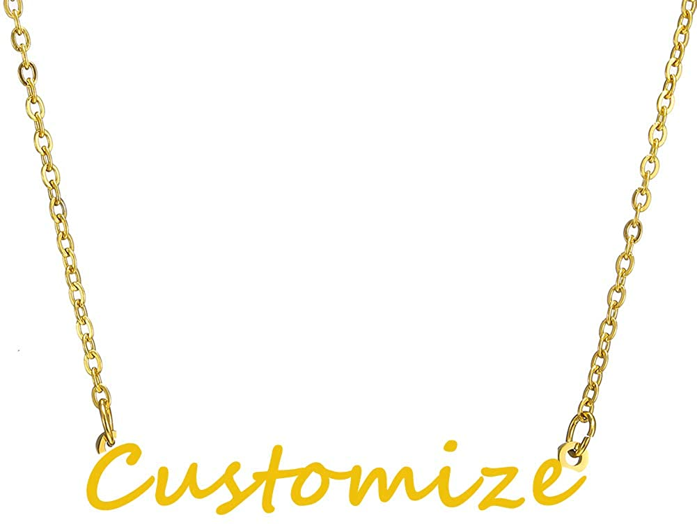 RWQIAN Gold Plated Personalized Name Necklace with Dainty Pendant Initial Monogram Necklace Stainless Steel Chain Jewelry for Women & Teen Princess Ella Girlfriend Customized