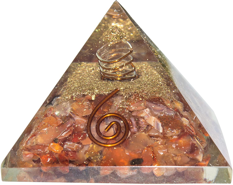 FASHIONZAADI Carnelian Orgone Pyramid with Crystal Pointer for EMF Protection Pyramids Chakra Balancing Gemstone Energy Generator Crystals Reiki Healing Home Table Decoration Item Size :- 65-75 Mm