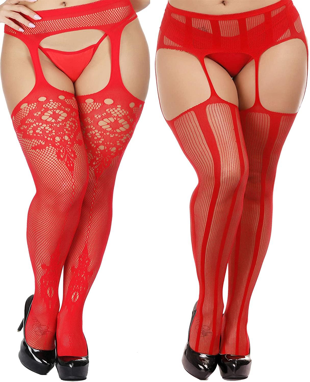 TGD Womens Plus Size Stockings Suspender Pantyhose Fishnet Tights Fashion Thigh High Stocking 2 Pairs