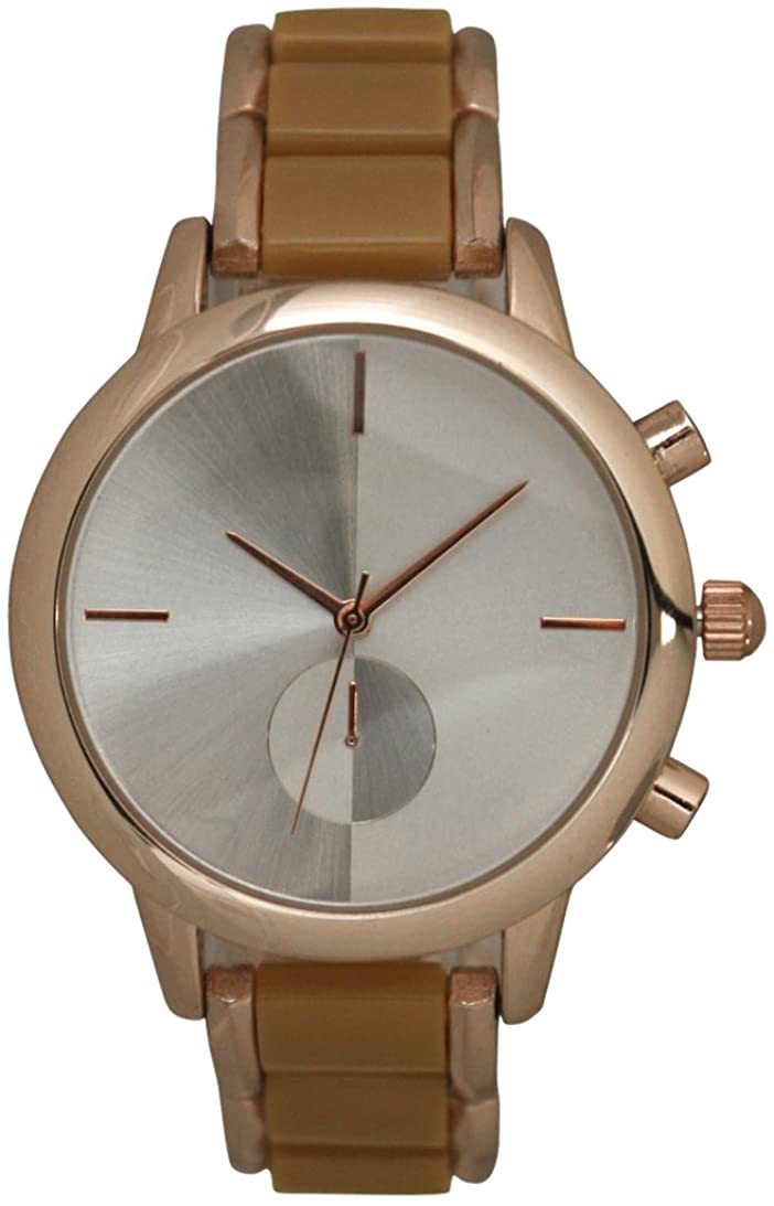Metal Bracelet with Plastic Link Watch Two Tone Color with One Eye and Two Tone Dial (Brown)