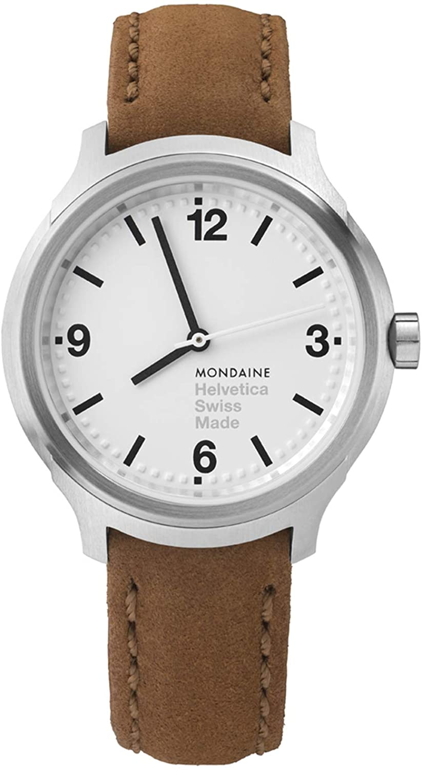 Mondaine Helvetica No 1 Wrist Watch for Men (MH1.B3110.LG) Swiss Made, Tan Stitched Brown Leather Strap, Silver Stainless Steel Case White Face, Black Hands & Numbers