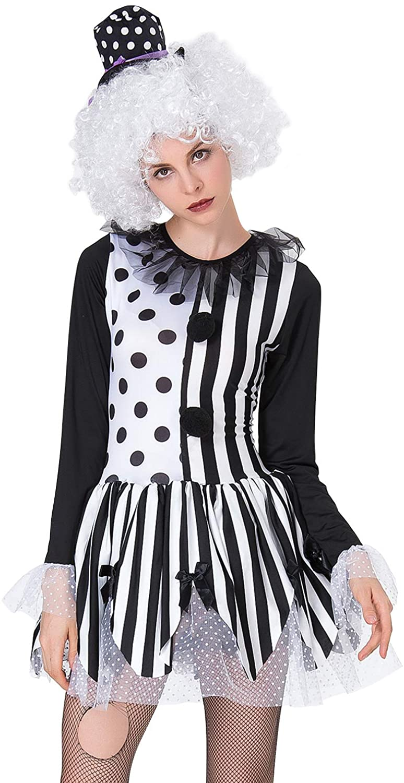 Quesera Men's Clown Costume Halloween Mime Sad Clown Circus Pierrot Scary Suit