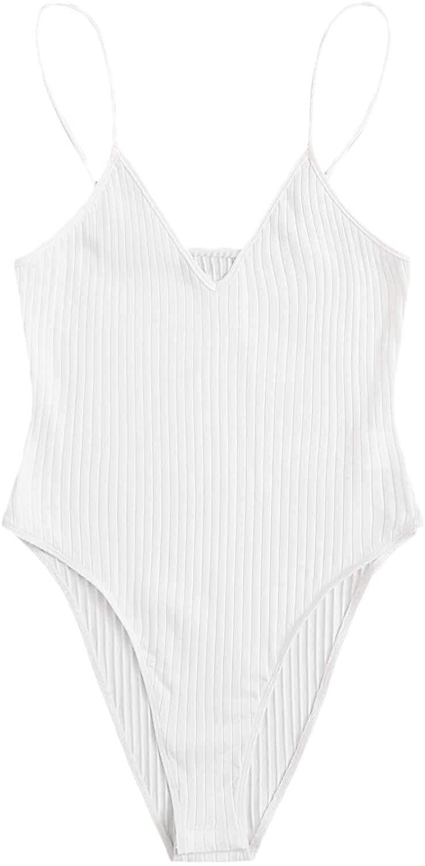 SheIn Womens Plus Sleeveless V Neck Leotard Top Casual Rib-Knit Cami Bodysuit