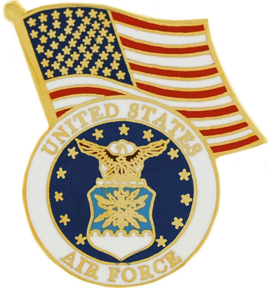 United States Flag Above Air Force Flag USAF 1