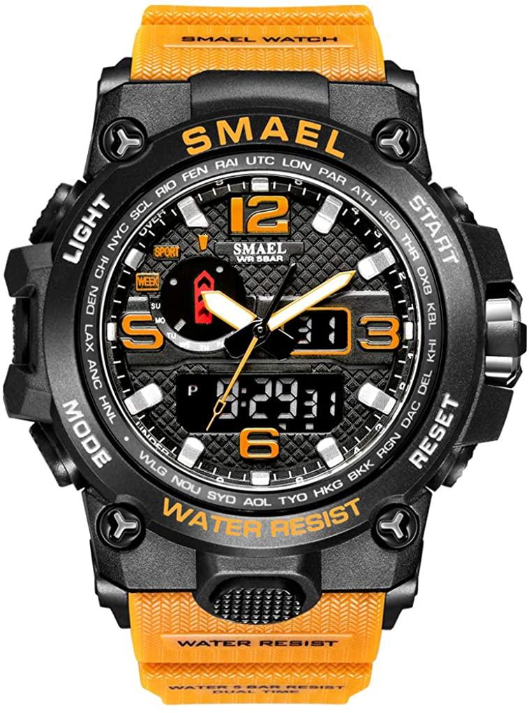 eYotto Men's Digital Sports Watches Dual-Display Anolog Wrist Watch Waterproof for Men with Luminous Stopwatch Week 12/24H Time Alarm Clock