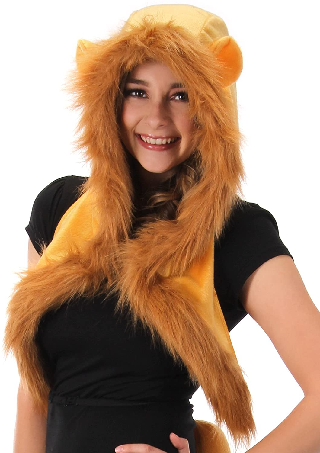 Lion Mane Plush Fur Costume Hood Hat with Ears for Adults and Kids Tan