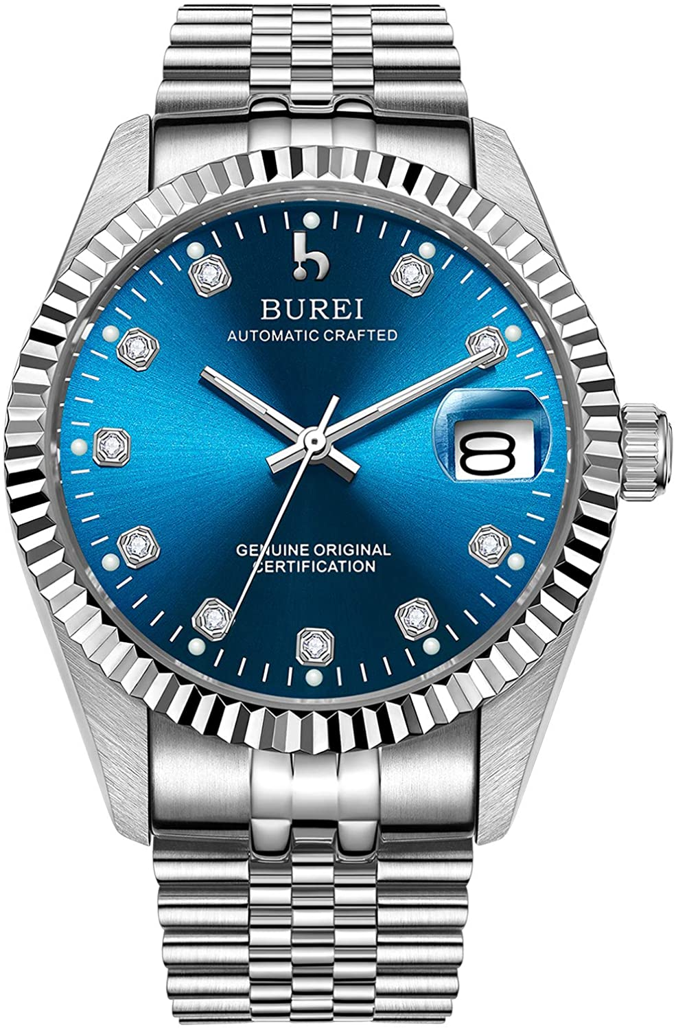 BUREI Men's Luxury Automatic Watch Two Tones Stainless Steel Dress Wrist Watches Self-Winding