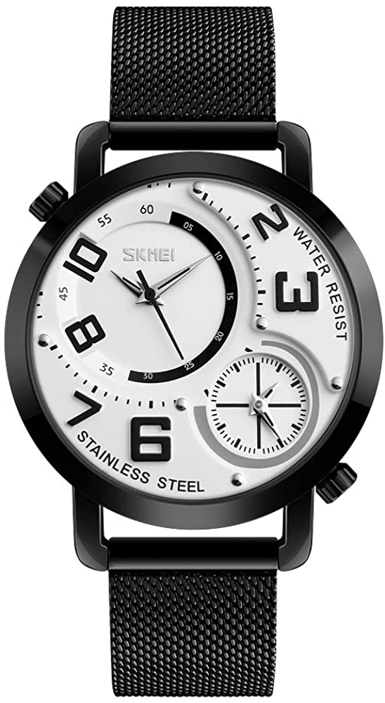 TONSHEN Mens Fashion Casual Double Face Analog Quartz Watch Stainless Steel Sport Wrist Watches