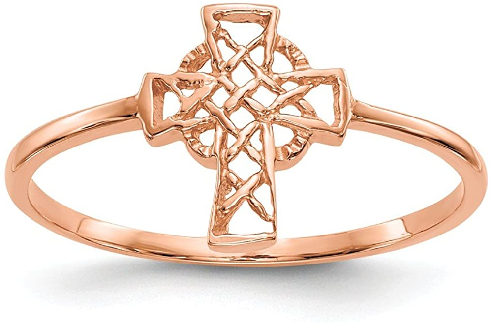 14k Rose Gold Irish Claddagh Celtic Knot Cross Religious Band Ring Size 7.00 Fine Jewelry For Women Gifts For Her
