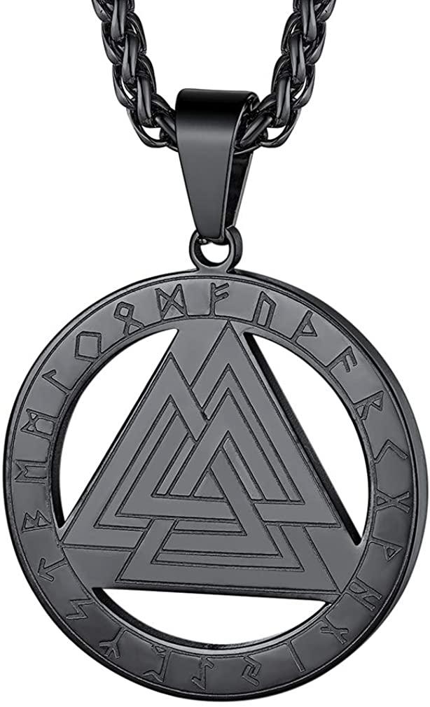 FaithHeart Norse Viking Thor's Hammer Talisman Necklace, Stainless Steel Men Vintage Original Jewelry Nordic Viking Vegvisir Mjolnir Compass Amulet Pendant (Gift Packaging)
