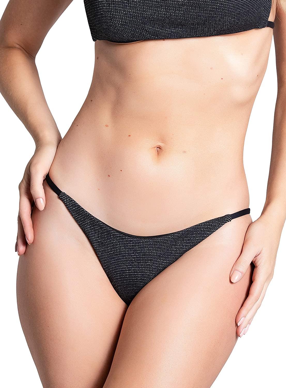 Yandy Black Sparkle Low Cut Waistband Thing Strappy Sides Cheeky Swim Bikini Bottom
