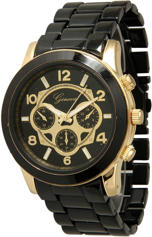 Geneva Stainless Steel Watch Unisex Boyfriend Dial (Black & Gold)