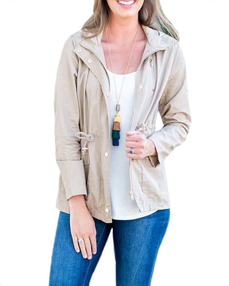 Womens Lightweight Military Safari Anorak Cotton Long Sleeve Utility Hooded Cargo Jacket