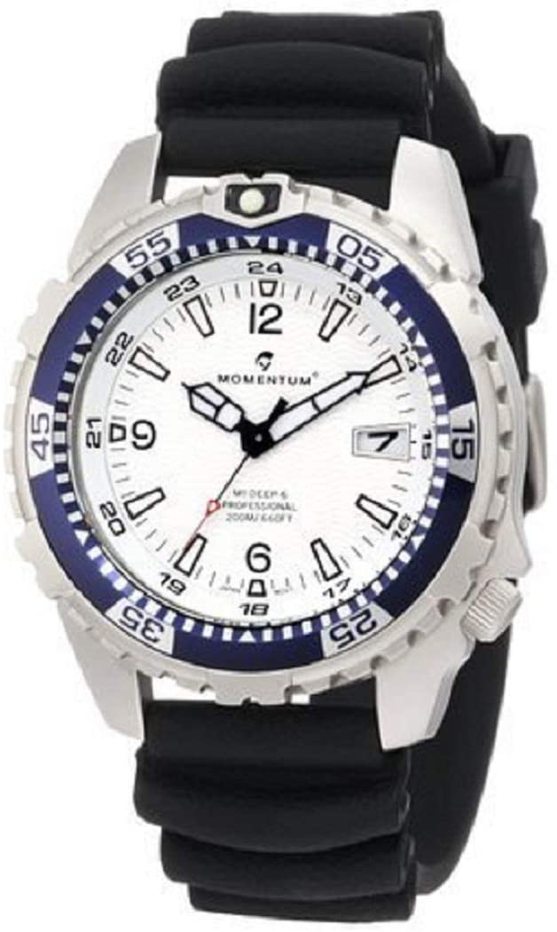 New St. Moritz Momentum M1 Deep 6 Men's Dive Watch & Underwater Timer for Scuba Divers with White Dial & Black Hyper Rubber Band