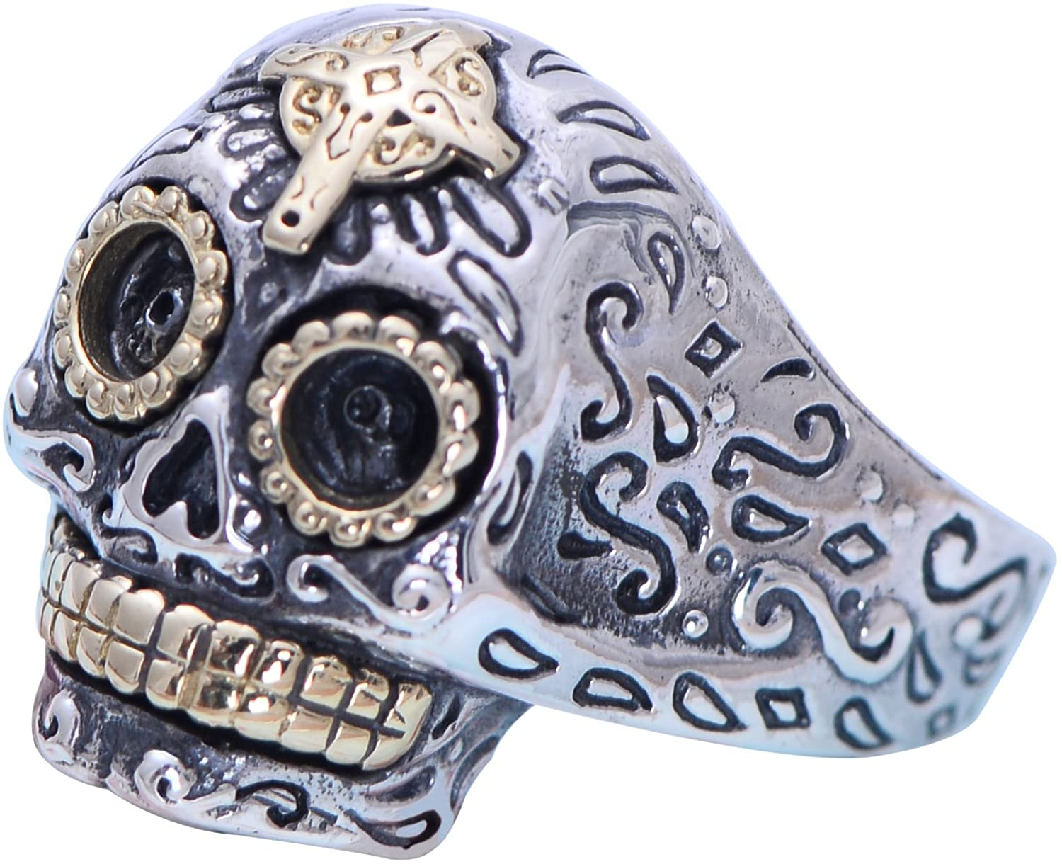 Gothic Two Tone 925 Sterling Silver Biker Skull Ring Jewelry Golden Cross for Men Women Adjustable Size 8-11