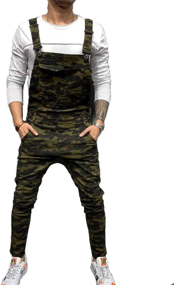 Men Jeans Jumpsuits Street Distressed Denim Bib Overalls Mens Casual Suspender Pants,Camo,3XL