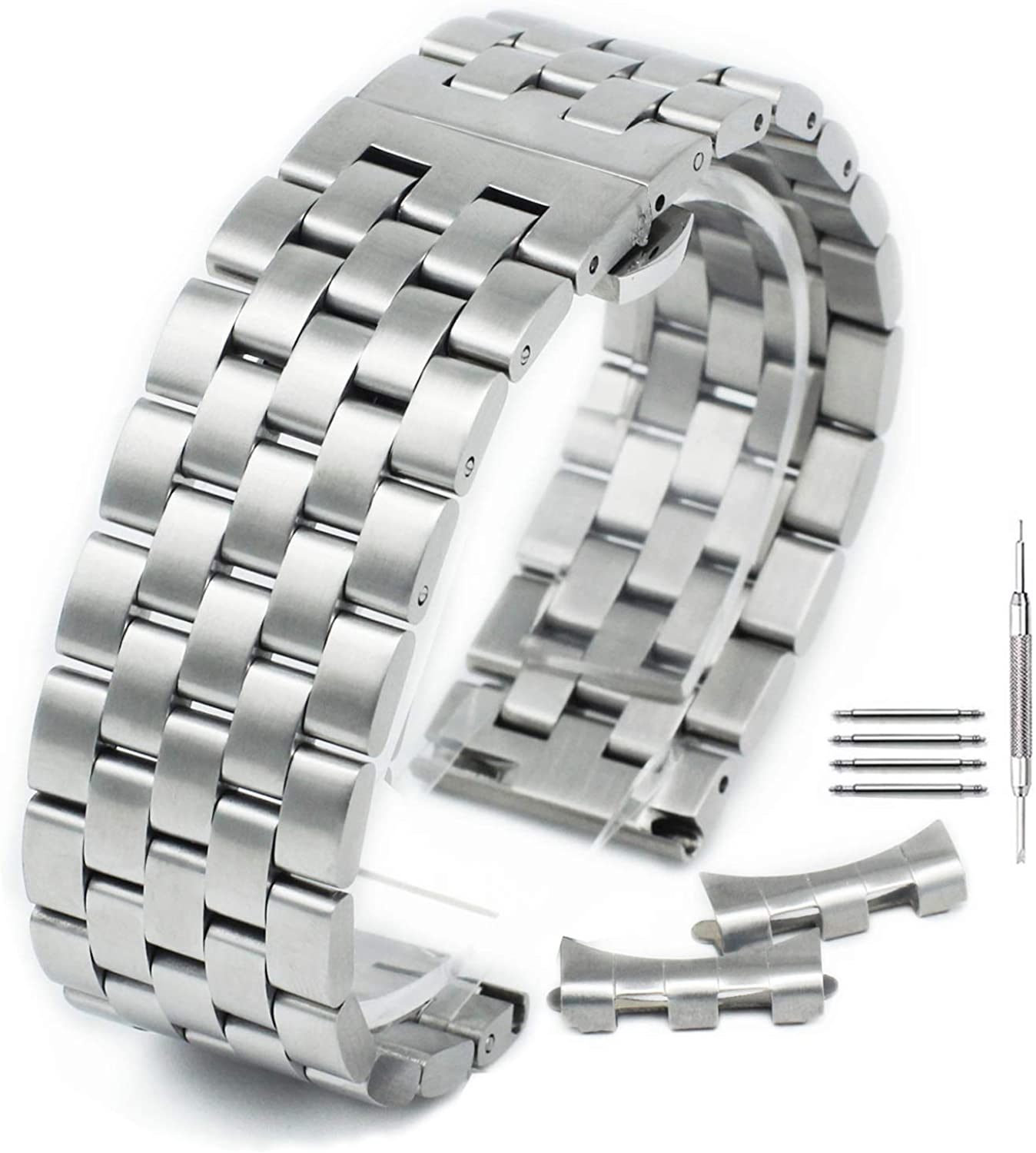 Curved Solid Stainless Steel Brushed Metal Watch Band Strap Buckle Clasp18mm-22mm Silver