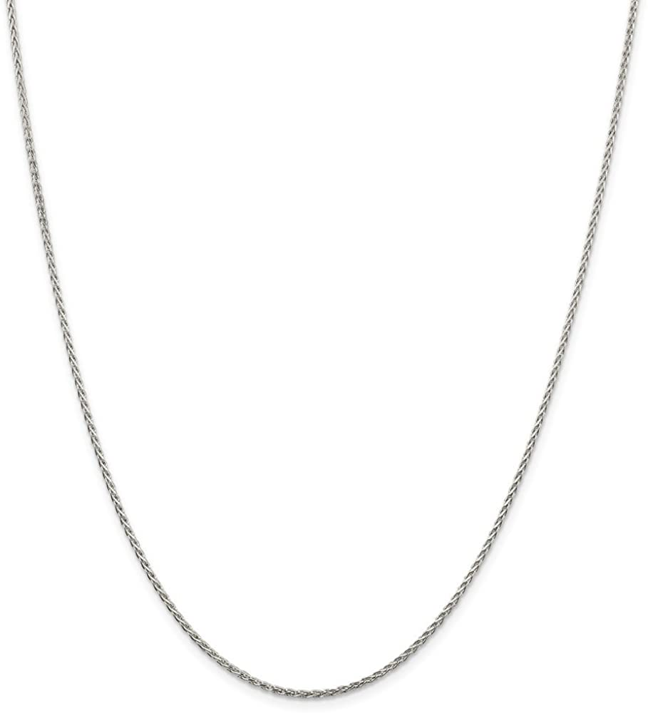 Diamond2Deal 925 Sterling Silver 1.5mm Spiga Chain Necklace for Men Women
