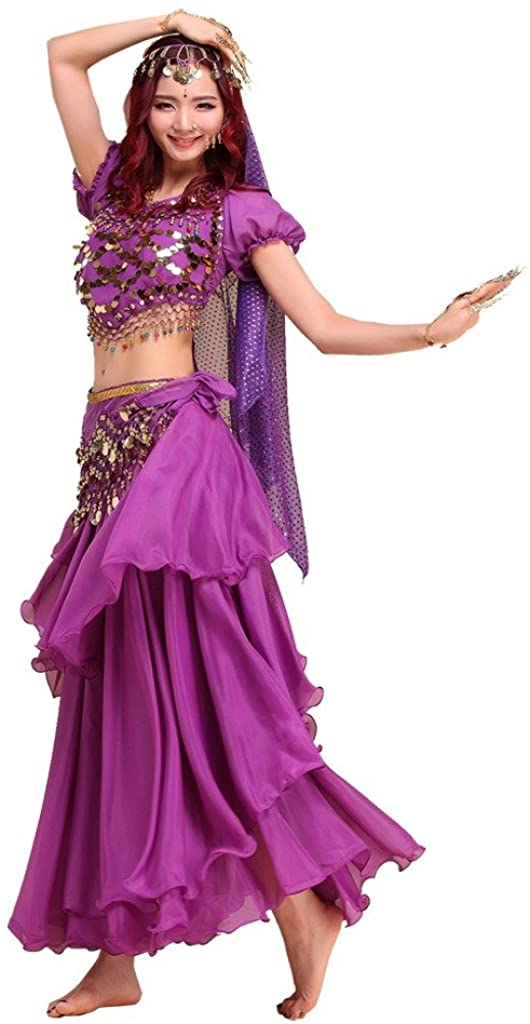 Pilot-trade ladys Belly Dance Costume Colorful Top&3 Layers Skirt&Hip Scarf