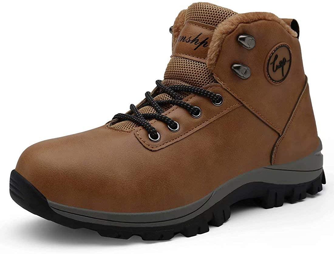 Lianshp Men's Warm Winter Snow Boots Water Resistant Warm Fur,Outdoor Anti-Slip Shoes,Shoe Lace Hook
