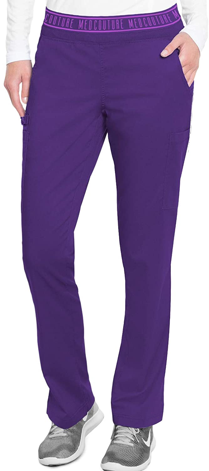 Med Couture Touch Women's Yoga 2 Cargo Pocket Pant, Grape, Large