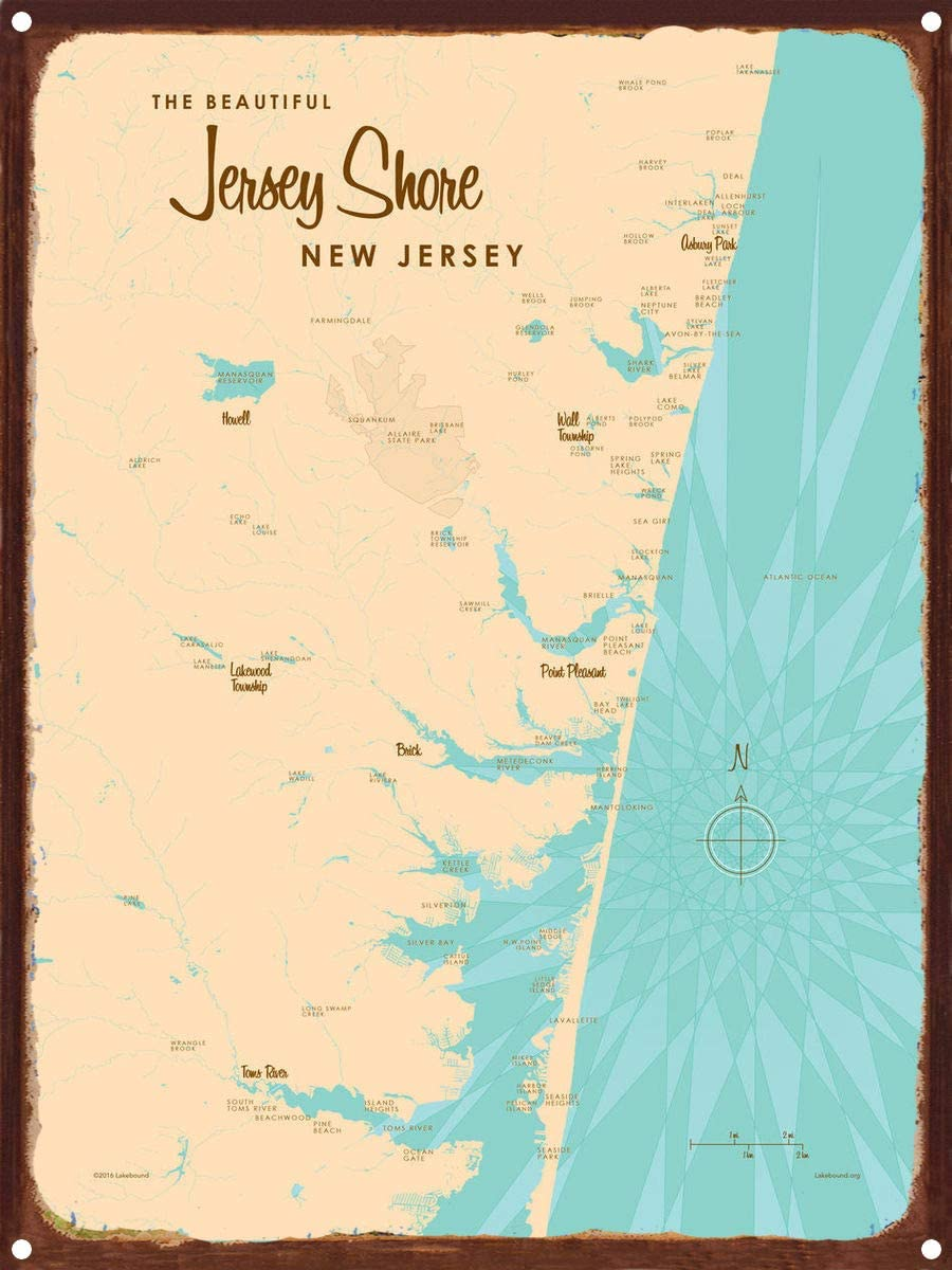 Jersey Shore New Jersey Map Rustic Metal Art Print by Lakebound 9