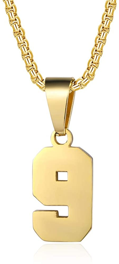 YOYO&YOKI Number Necklaces Personalized Necklaces 18K Gold Plated Initial Number Pendant Stainless Steel Chain Sports Necklaces for Men Women