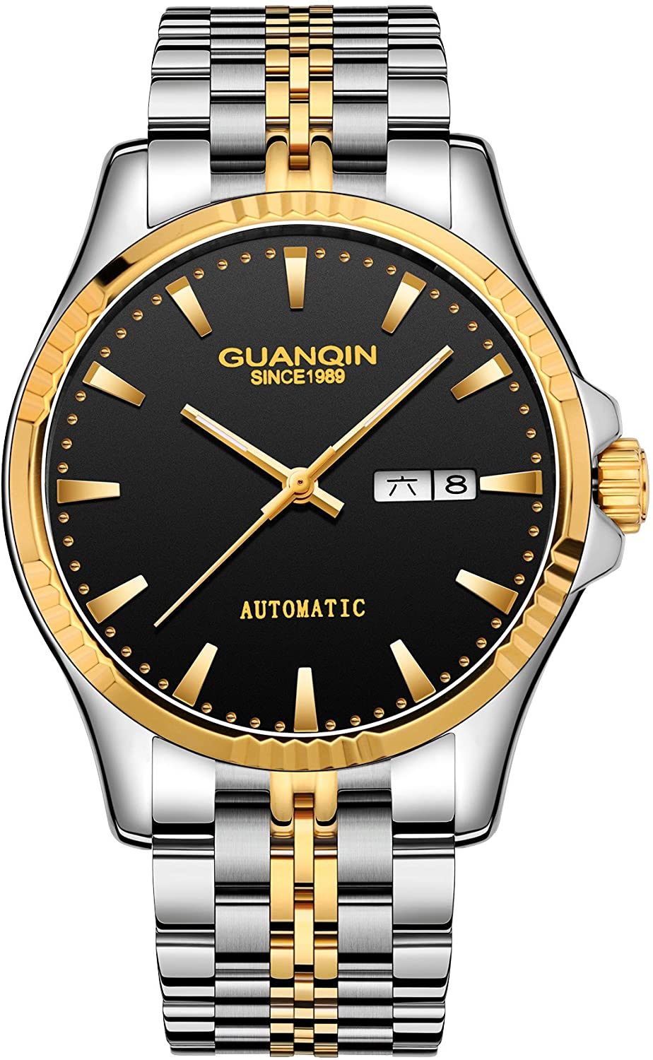 Guanqin Men's Day Date Watches Analog Automatic Self Winding Mechanical Wrist Watch with Stainless Steel Bracelet