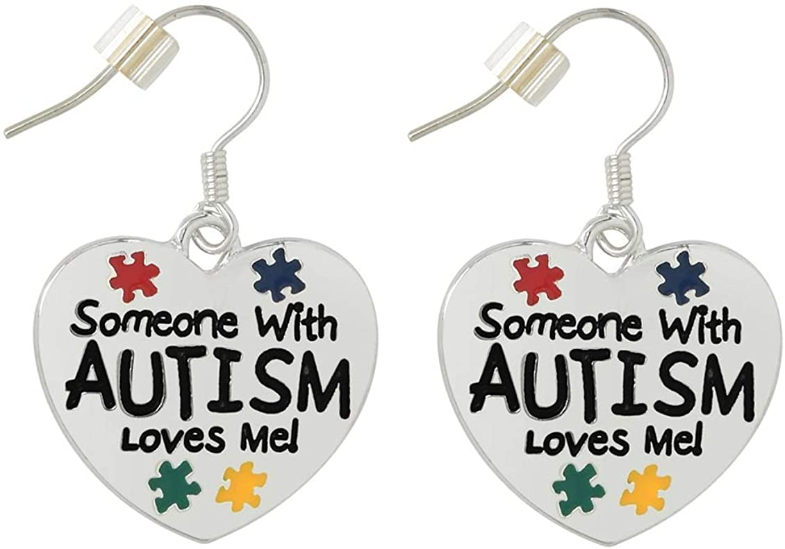 "Fundraising For A Cause | Autism ""Someone With Autism Loves Me!"" Heart Earrings – Bulk Autism Awareness Heart-Shaped Earrings for Fundraising, Resell, or Gift-Giving"