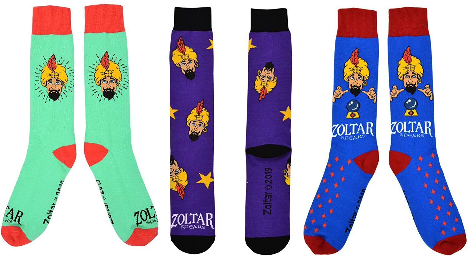 Men's Zoltar Colorful Funny Novelty Crazy Fun Crew Socks - Single or 3 Pair