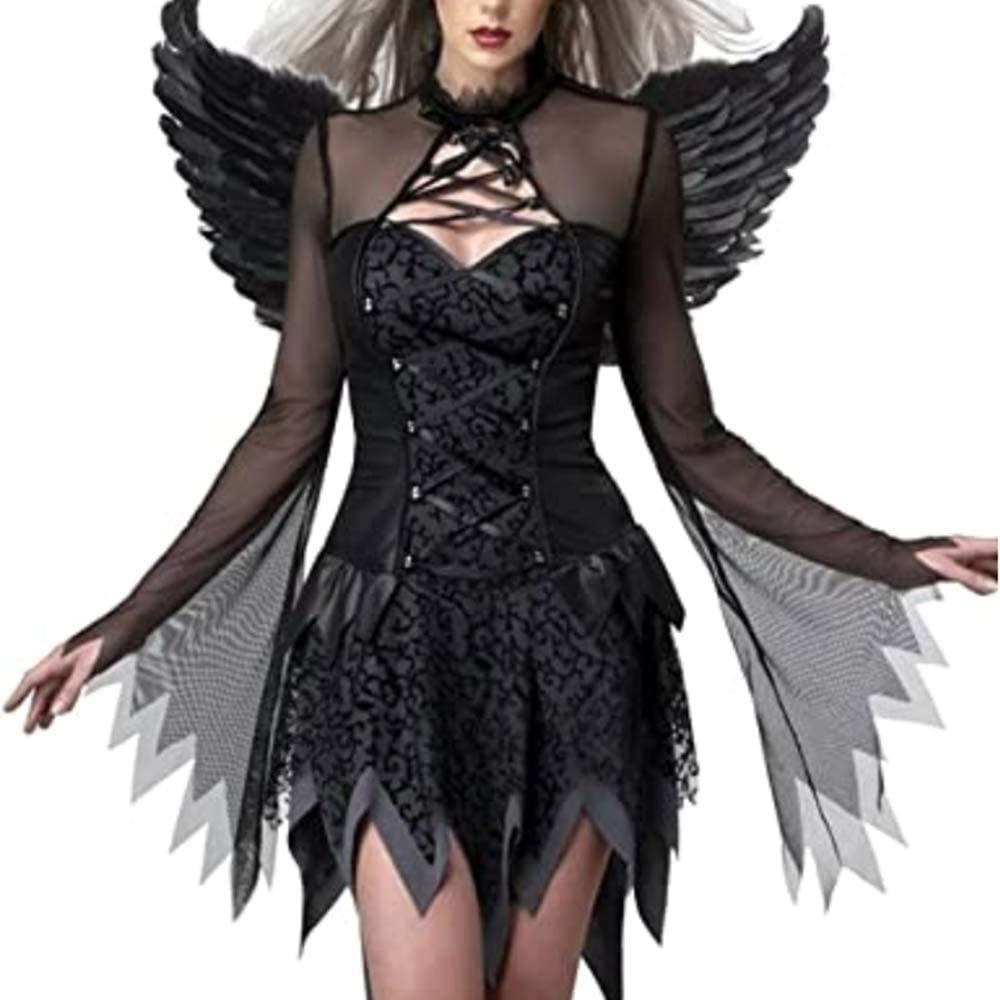 Fallen Angel Costumes, Women's Halloween Dark Fallen Angel Corset Dresses Black Fallen Angel Corset Dresses Costumes
