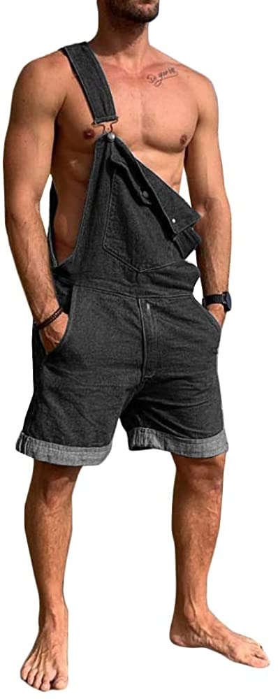 Bbalizko Mens Bib Overalls Denim Shorts Jean Romper One Piece Casual Loose Fit Walkshort Jumpsuit