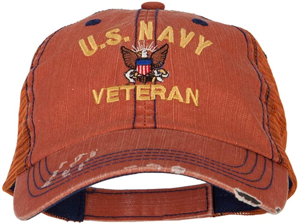 e4Hats.com US Navy Veteran Military Embroidered Low Cotton Mesh Cap