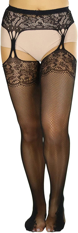 ToBeInStyle Women's Sexy Lace Top Garterbelt Pantyhose