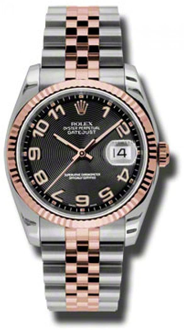 Rolex Oyster Perpetual Datejust 36 Black Concentric Dial Stainless Steel and 18K Everose Gold Jubilee Bracelet Automatic