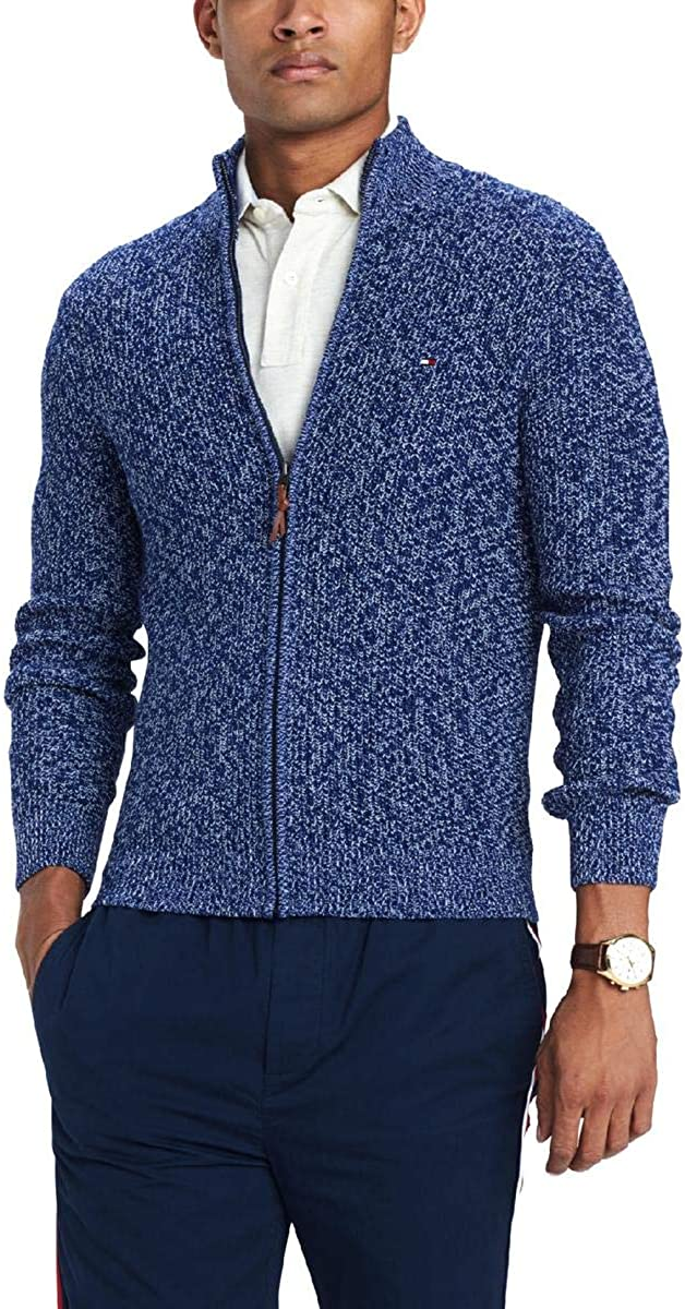 Tommy Hilfiger Mens Full-Zip Knit Sweater, Blue, XX-Large
