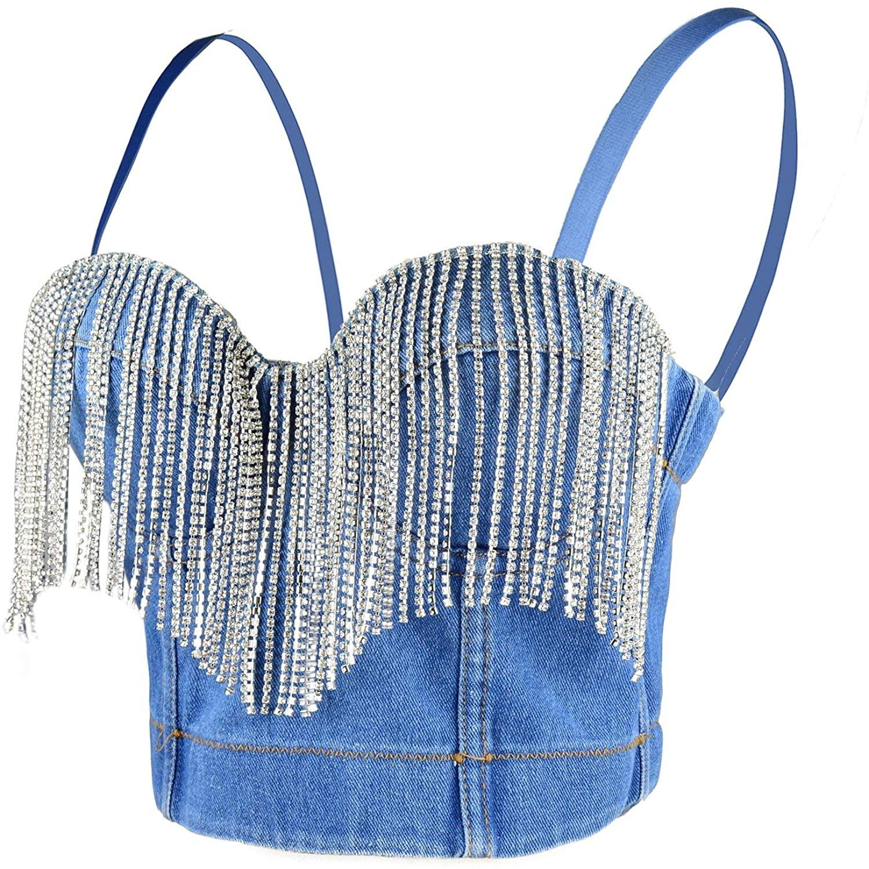 ELLACCI Women's Tassel Rhinestone Deium Bustier Crop Top Jean Corset Top Bra Blue