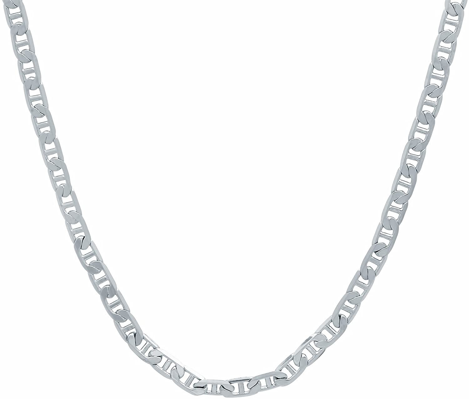 The Bling Factory 3.2mm High-Polished 0.25 mils (6 microns) Rhodium Plated Flat Mariner Chain Necklace, 16'-30