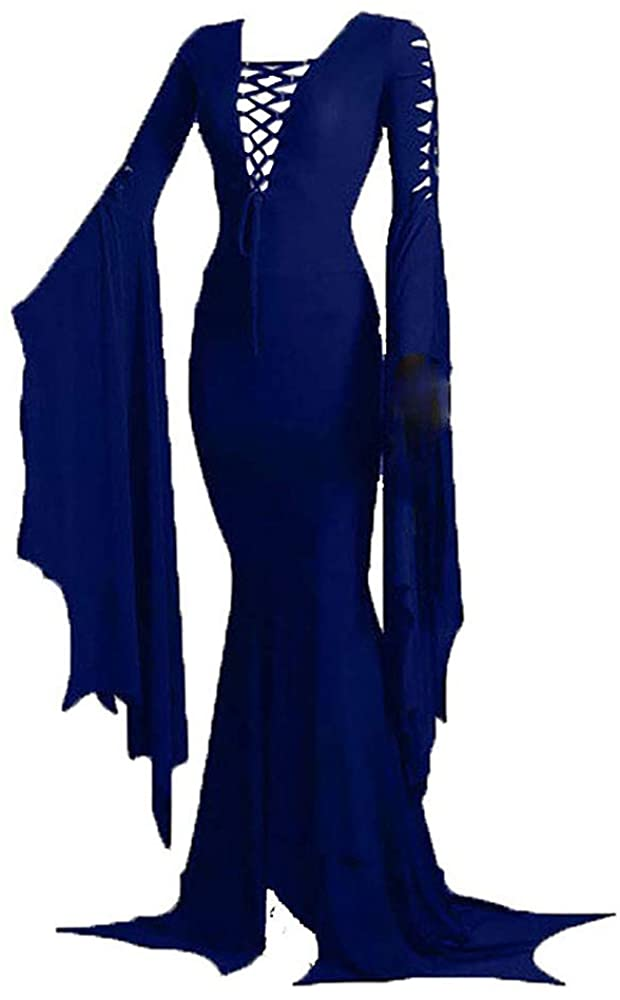 Women's Morticia Addams Floor Dress Costume Witch Sexy Gothic Vintage Dress for Halloween Carnival Party