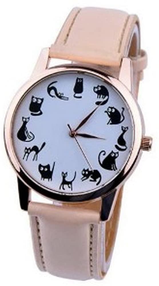 PlanetZia Multi Cat Watch with Cream Buckle Band XA-MCW