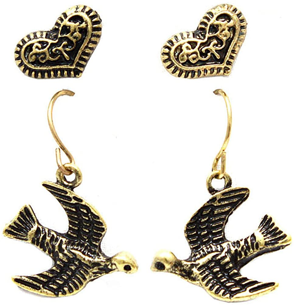 Antiqued Gold Swallow & Heart Earring Set