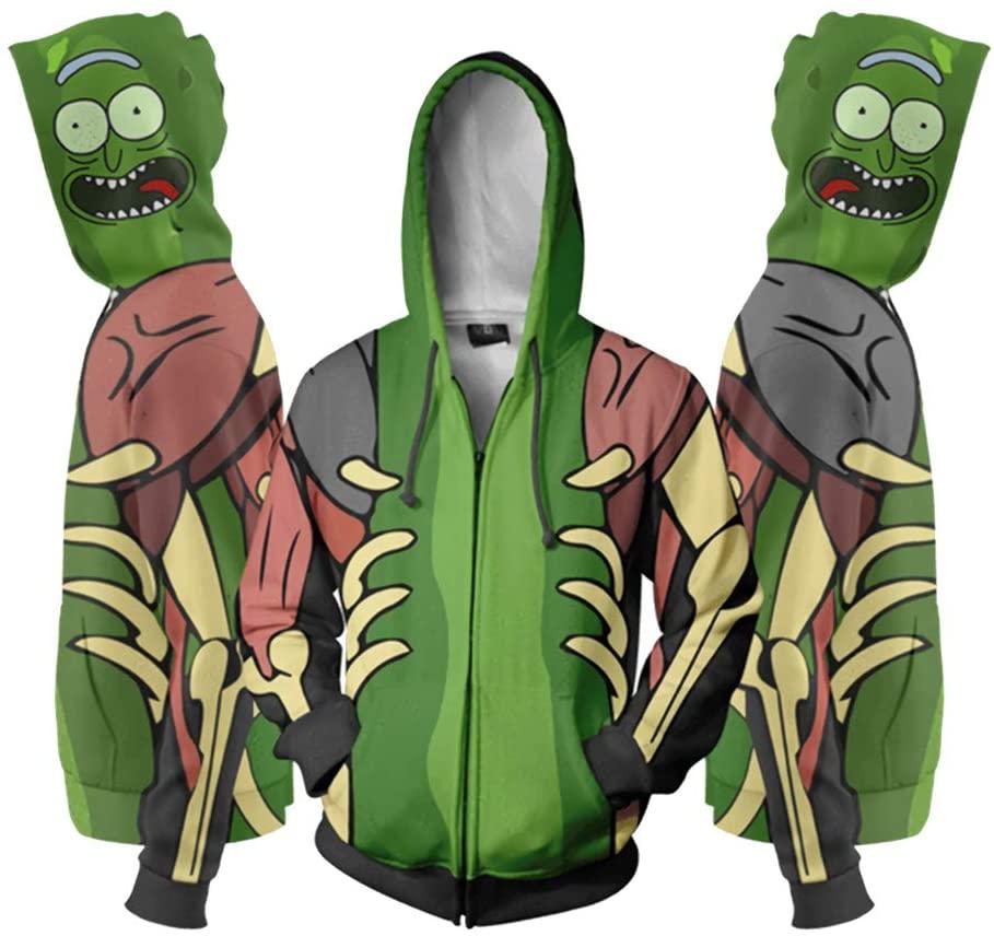 Bedais Funny Ri-ck and Mor-ty Cosplay Teens Full Zip Hoodie Pullover Sweatshirt Jacket for Boys,Mens