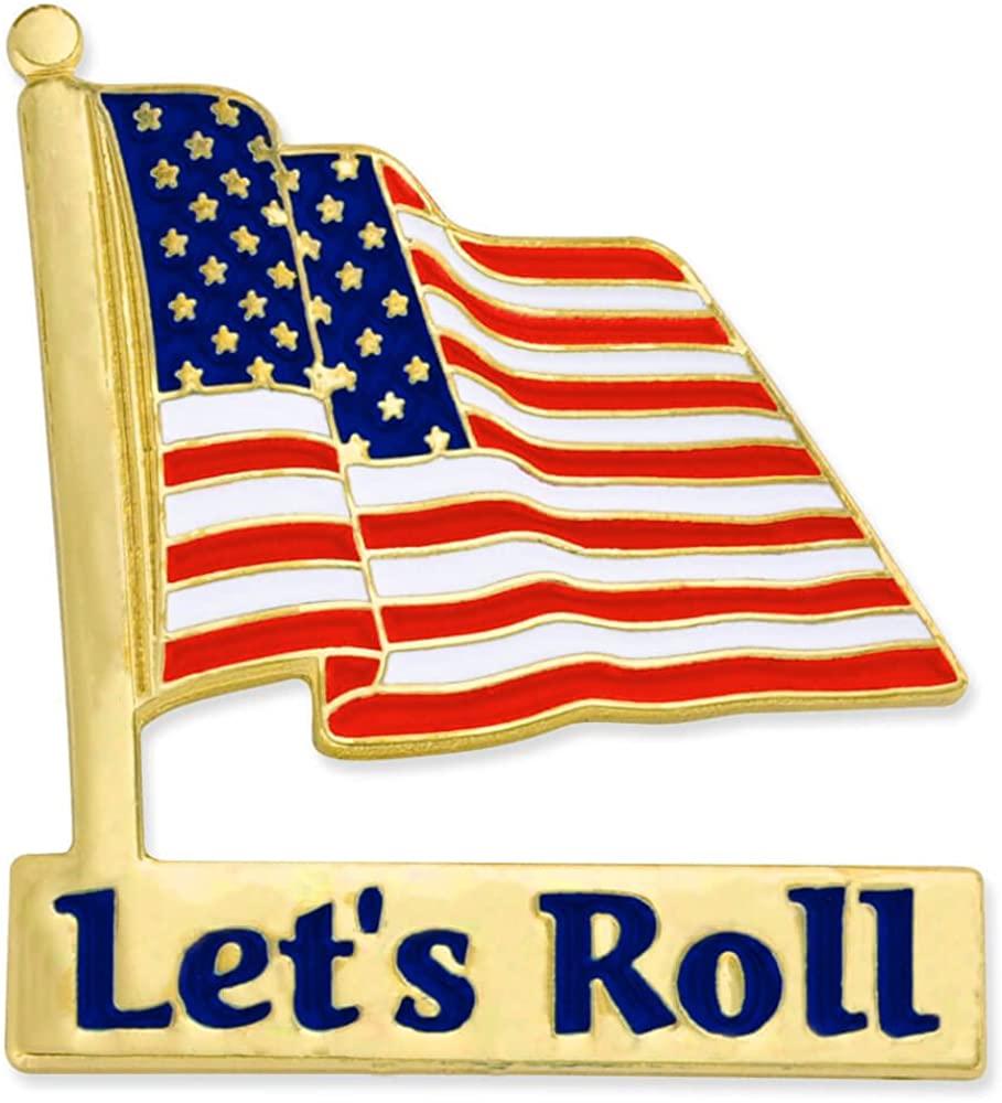 PinMart Patriotic Let's Roll American Flag Lapel Pin